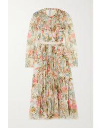 Needle & Thread Rose Garden Midikleid Aus Tüll Mit Blumenprint Und Falten - Pink