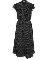 Michael Kors - Ruffled Polka-dot Silk-georgette Midi Dress - Lyst