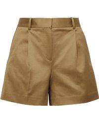 Theory - Pleated Cotton-blend Twill Shorts - Lyst