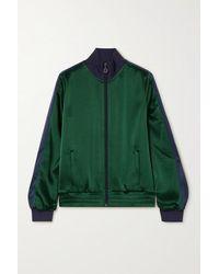 Tory Sport Striped Satin Track Jacket - Green