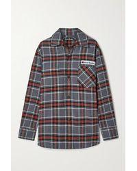 Acne Studios Oversized Appliquéd Checked Cotton-flannel Shirt - Grey