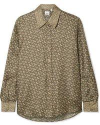 Burberry Printed Silk-satin Twill Shirt - Green