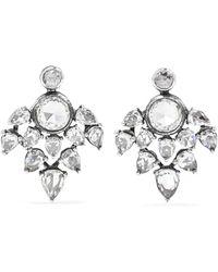 Fred Leighton - Collection 18-karat White Gold Diamond Earrings - Lyst