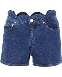 Maje - Scalloped Denim Shorts - Lyst