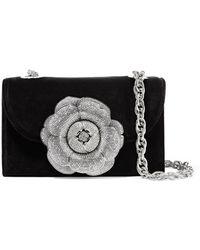 Oscar de la Renta - Tro Crystal-embellished Velvet And Suede Shoulder Bag - Lyst