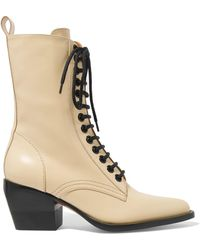 Chloé - Rylee Glossed-leather Ankle Boots - Lyst