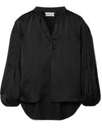 Apiece Apart - Bravo Pleated Hammered Silk-satin Blouse - Lyst