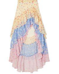 LoveShackFancy Lisette Asymmetric Ruffled Floral-print Silk-georgette Skirt - Multicolour