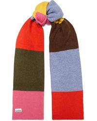 Ganni Striped Wool-blend Scarf - Pink
