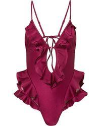 Zimmermann Amari Swiss-dot Tulle-paneled Ruffled Swimsuit - Red