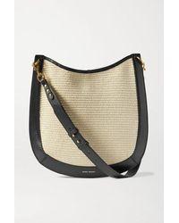 Isabel Marant Moskan Leather-trimmed Raffia Shoulder Bag - Natural