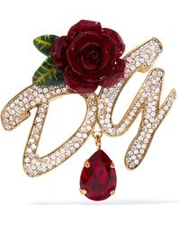 Dolce & Gabbana - Gold-plated, Enamel And Crystal Brooch Gold One Size - Lyst