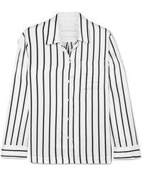 Asceno - Striped Silk-satin Pyjama Shirt - Lyst