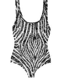 Versace Body String En Dentelle Stretch À Imprimé Zèbre - Noir
