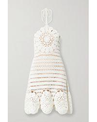 Oscar de la Renta Neckholder-minikleid Aus Gehäkelter Baumwolle - Weiß