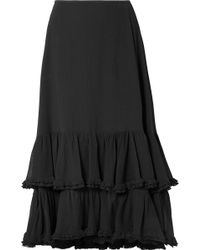 Chloé | Tiered Cotton And Silk-blend Crepon Midi Skirt | Lyst