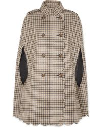 RED Valentino - Scalloped Checked Wool-blend Cape - Lyst