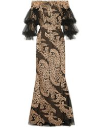 Marchesa - Off-the-shoulder Embellished Corded Lace And Tulle Gown - Lyst