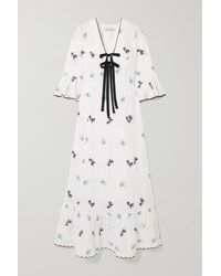 Lug Von Siga Diana Bow-detailed Ruffled Embroidered Linen Midi Dress - White