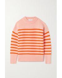 La Ligne Marin Gestreifter Pullover Aus Einer Woll-kaschmirmischung - Orange