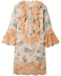 Anna Sui - Mini-robe En Soie Mélangée, En Fil Coupé Et En Dentelle Decoupage - Lyst