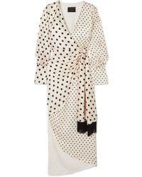 Mother Of Pearl Robe Portefeuille En Satin De Soie À Pois Velda - Blanc