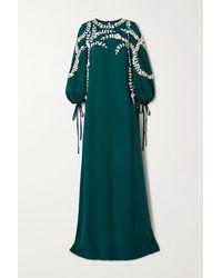 Oscar de la Renta - Appliquéd Silk-blend Gown - Lyst