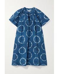 Apiece Apart Sur Gathered Tie-dyed Organic Cotton-poplin Mini Dress - Blue