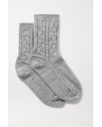 Johnstons Cable-knit Cashmere Socks - Gray