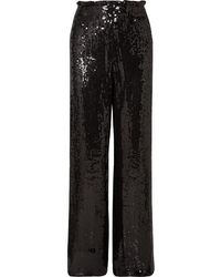 Alice + Olivia Elba Sequined Crepe Wide-leg Pants - Black