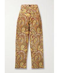Etro Gibson Hoch Sitzende Jeans Mit Weitem Bein Und Paisley-print - Gelb