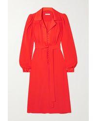 Bella Freud Floria Belted Crepe Shirt Dress - Red