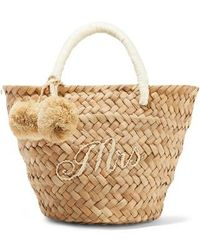 Kayu St Tropez Mini Pompom-embellished Embroidered Woven Straw Tote - Natural