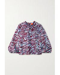 La DoubleJ Charming Zebra-print Silk-twill Blouse - Blue