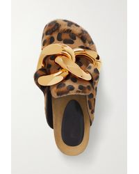JW Anderson Chain-embellished Leopard-print Calf Hair Slippers - Brown