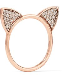 Aamaya By Priyanka | Cat Ears Rose Gold-plated Topaz Ring | Lyst