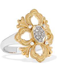 Buccellati - Opera 18-karat Yellow And White Gold Diamond Ring - Lyst