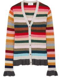 Allude - Ruffled Striped Wool-blend Cardigan - Lyst