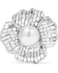 Kenneth Jay Lane Silver-tone, Crystal And Faux Pearl Brooch - Metallic