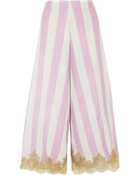 Rosamosario - Wallah, Let's Stripes Lace-trimmed Silk Pyjama Trousers - Lyst