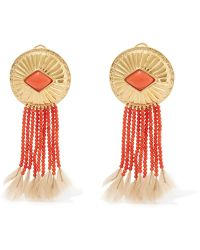 Aurelie Bidermann - Gold-plated, Coral And Feather Clip Earrings - Lyst