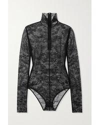 Acne Studios Stretch-lace Turtleneck Bodysuit - Black