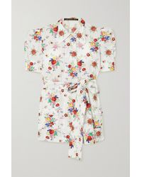 The Vampire's Wife Belted Wool-blend Lamé Blouse - White