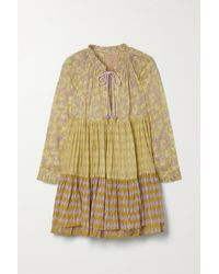 Yvonne S Tiered Printed Cotton-voile Mini Dress - Yellow