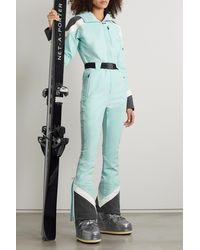 Perfect Moment Allos Hooded Belted Color-block Ski Suit - Blue