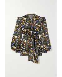 The Vampire's Wife The Heidi Belted Floral-print Silk-satin Blouse - Black