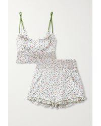 Morgan Lane Lia Marta Shirred Floral-print Silk-blend Satin Pyjama Set - White