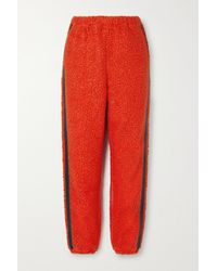STAUD Chutes Faux Leather-trimmed Fleece Track Pants - Red