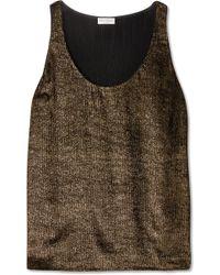 Brunello Cucinelli - Metallic Ribbed Jersey Top - Lyst