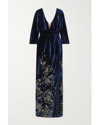 Marchesa notte Robe Aus Samt Mit Stickereien - Blau